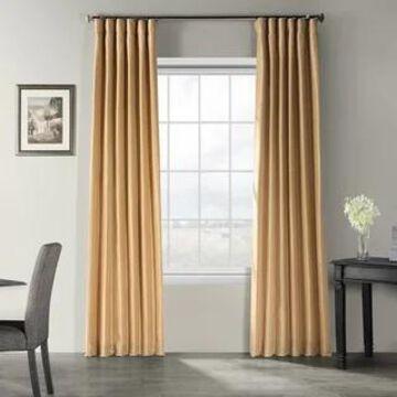 Exclusive Fabrics Vintage Textured Faux Dupioni Silk Curtain Panel (50 x 120 - Butternut)