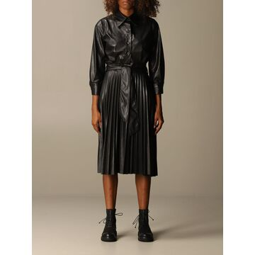 Hanita Chemisier Dress In Synthetic Leather With Pleated Skirt