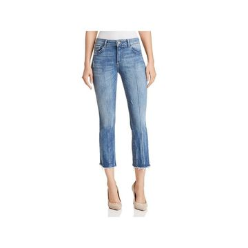 DL1961 Womens Lara Flare Jeans Denim Frayed Hem