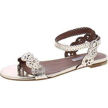 Tabitha Simmons Womens Bobbin Flat Sandals Mirrored Leather - Champagne Mirror Crackle
