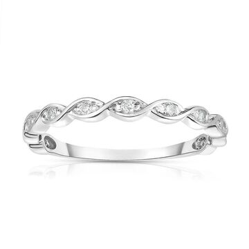 Noray Designs 14K White Gold Diamond (0.07 Ct, G-H Color, SI2-I1 Clarity) Braided Stackable Ring - White G-H - White G-H (5.5)