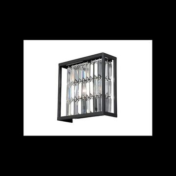 Vaxcel Lighting W0210 Catana 2 Light Wall Sconce with Clear Crystal Shade Oil Rubbed Bronze Indoor Lighting Wall Sconces