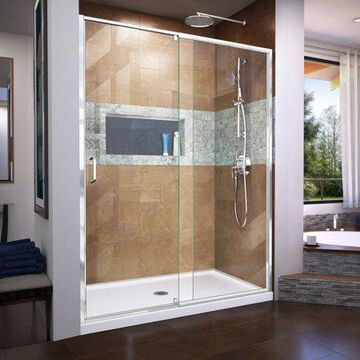 DreamLine Flex 30 in. D x 60 in. W x 74 3/4 in. H Semi-Frameless Pivot Shower Door in Chrome with Center Drain White Base Kit