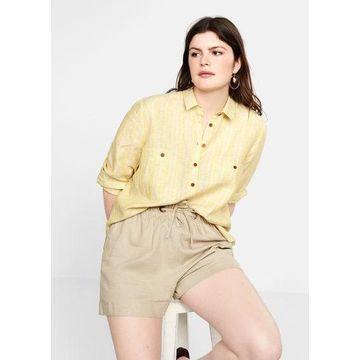 Violeta BY MANGO - Linen shorts beige - L - Plus sizes