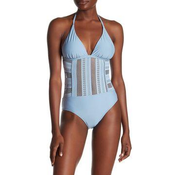 Ella Moss Womens Swimwear Blue Size Small S Crochet Halter One-Piece