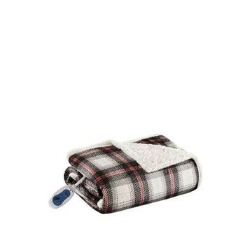 Beautyrest Leeds Oversized Plaid Print Faux Mink To Berber Heated Throw -