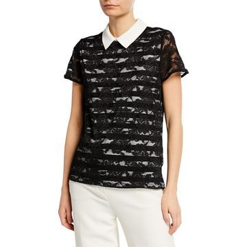 Collared Lace & Stripe Knit Top
