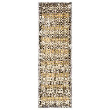 Jaipur Polaris Indoor/Outdoor Runner Rug - Color: Yellow - Size: 2ft 6