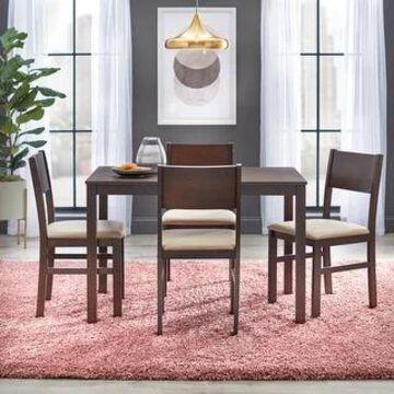 Simple Living Templeton 5-piece Wood Dining Set (Espresso/Beige Microfiber)