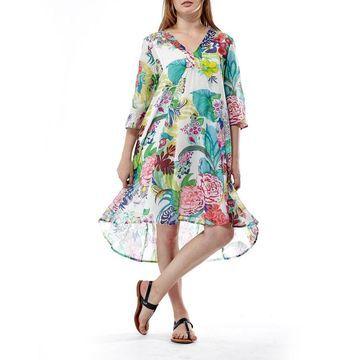 La Cera Women's Multicolored Cotton 3/4-sleeve Floral Pullover Dress