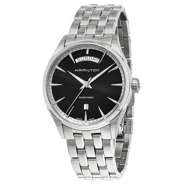 Hamilton Men's H42565131 'Jazzmaster' Black Dial Stainless Steel Day Date Swiss Automatic Watch