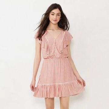 Petite LC Lauren Conrad Trim Inset Fit & Flare Dress, Women's, Size: XL Petite, Med Pink