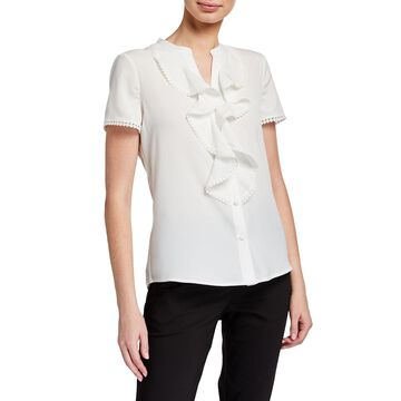 Short-Sleeve Woven Blouse With Ruffle