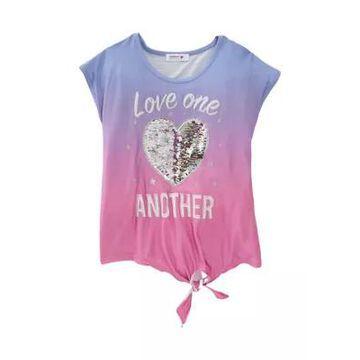 Beautees Girls' Girls 7-16 Short Sleeve Tie Front Sequin Heart Graphic T-Shirt - -