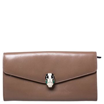 Bvlgari Brown Leather Serpenti Forever Continental Wallet