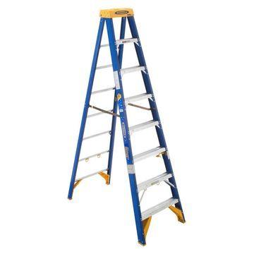 Werner 8-ft Fiberglass Type 1AA - 375 lbs Capacity Step Ladder