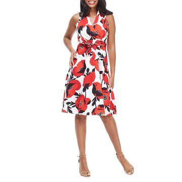 Floral Halter-Neck Wrap Dress