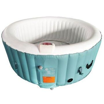 ALEKO HTIR4GRW Round Inflatable Hot Tub Spa With Cover - 4 Person - 210 Gallon - Light Blue and White