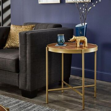 Vanderson Gold Finish Metal and Faux Leather End Table by iNSPIRE Q Modern (Brown and Gold)