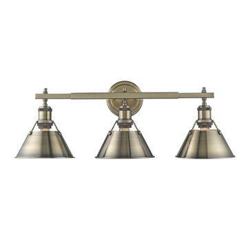 Golden Lighting Orwell AB Aged Brass Steel 3-light Bath Vanity Light