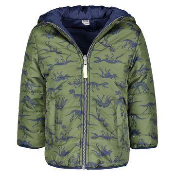 Toddler Boys Dinosaur-Print Reversible Hooded Jacket