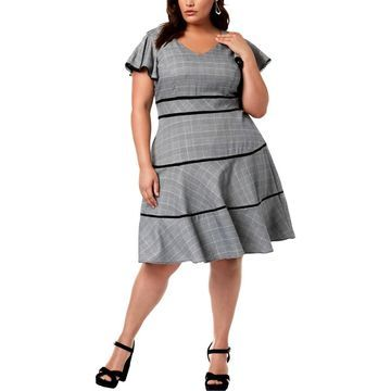 Taylor Womens Plus Short Sleeves Fit & Flare Party Dress