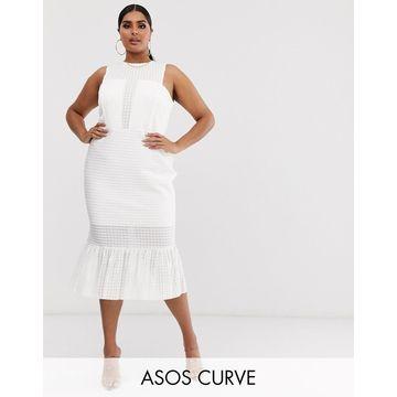ASOS DESIGN Curve drop stitch lace pep hem midi dress