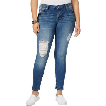 Celebrity Pink Womens Plus The Slimmer Body Sculpt Distressed Skinny Jeans