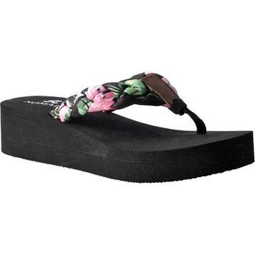 Nomad Women's Luau Thong Wedge Sandal Black/Pink Floral