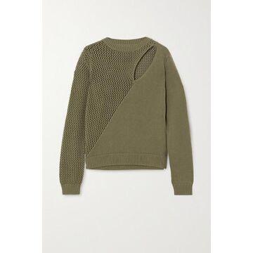 RtA - Teagan Cutout Paneled Cotton Sweater - Army green