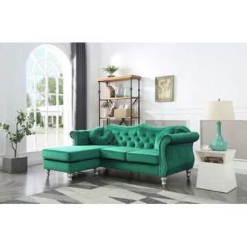 Hollywood Velvet Sofa with Reversible Chaise