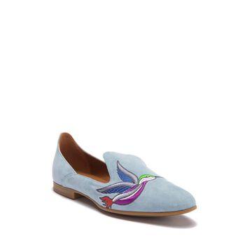 Aquatalia Womens Emmaline Embroidered Suede Almond Toe Loafers