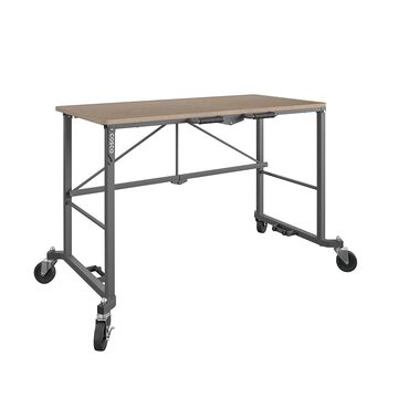 COSCO Smartfold Portable Folding Work desk with MDF work top (Gray, 350 pounds)