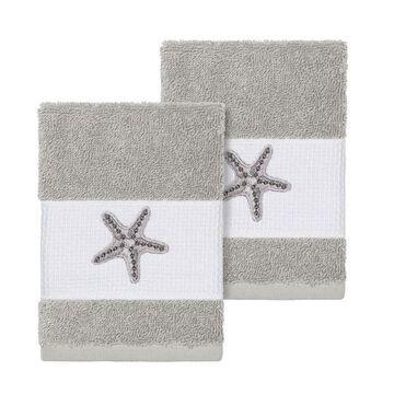 Linum Home Textiles Lydia Embellished Washcloth Set