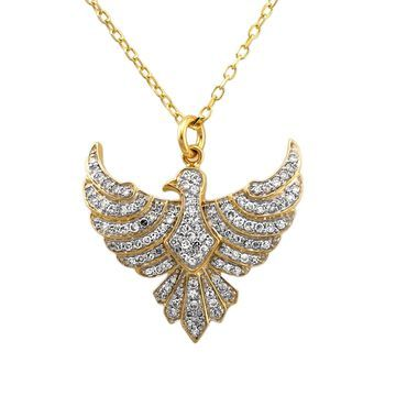 14k Yellow Gold 1/2ct. TDW Diamond Diamond Eagle Necklace by Beverly Hills Charm