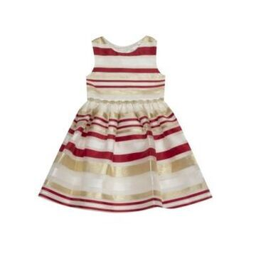 Rare Editions Little Girl Burnout Organza Stripe Fit And Flare Dress