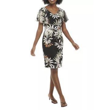 Connected Apparel Women's Flutter Sleeve Leaf Print V-Neck Dress -
