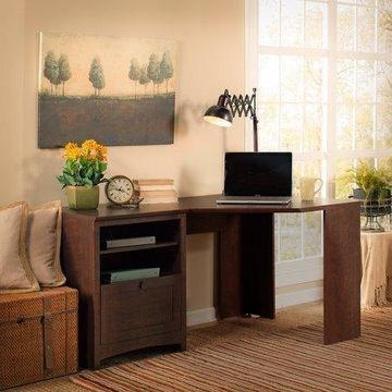 Bush Furniture Buena Vista 60W Corner Desk in Madison Cherry