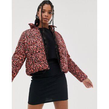 Noisy May leopard print padded jacket-Multi