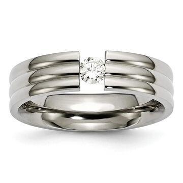 Chisel Titanium Grooved 6mm Diamond Polished Standard Fit Wedding Band (11.5)