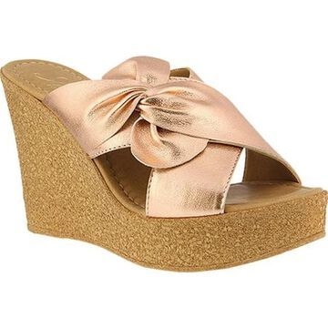 Azura Women's Veria Pleated Bow Slide Rose Gold Leather