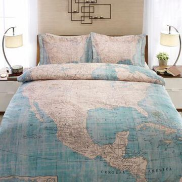 Laural Home North American Map Standard Pillow Sham in Beige