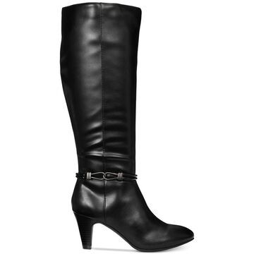 Karen Scott Womens Hollee Fabric Almond Toe Knee High Fashion Boots