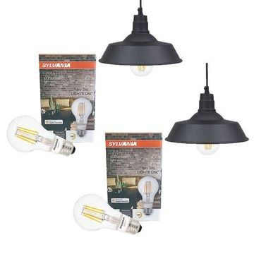Sylvania 60053 LED Dimmable Hudson Factory 12 Inch Pendant A19 Light (2 Pack)