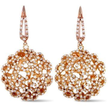 Roberto Coin Mauresque Rose Gold Diamond French Wire Earrings
