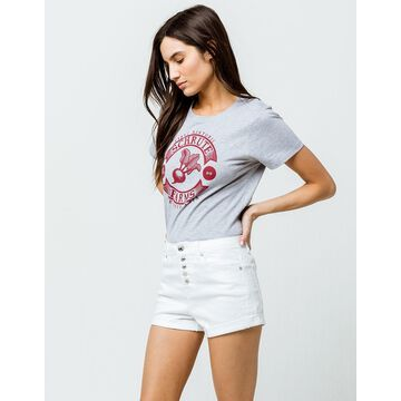 High Rise Exposed Button White Womens Denim Shorts