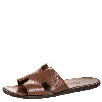 Hermes Brown Leather Izmir Sandals Size 43