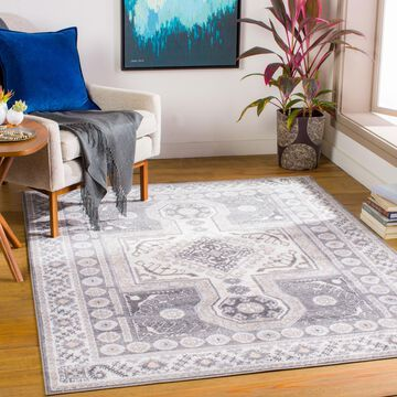 """Art of Knot Amable Gray 7'10"""" x 10' Traditional Oriental Area Rug"""