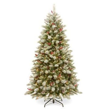 National Tree Company 7.5-Foot Snowy Bristle Berry Christmas Tree with Dual Color Lights