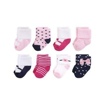 Luvable Friends Girls' Socks Polished - Polished Terry Socks - Set of Eight